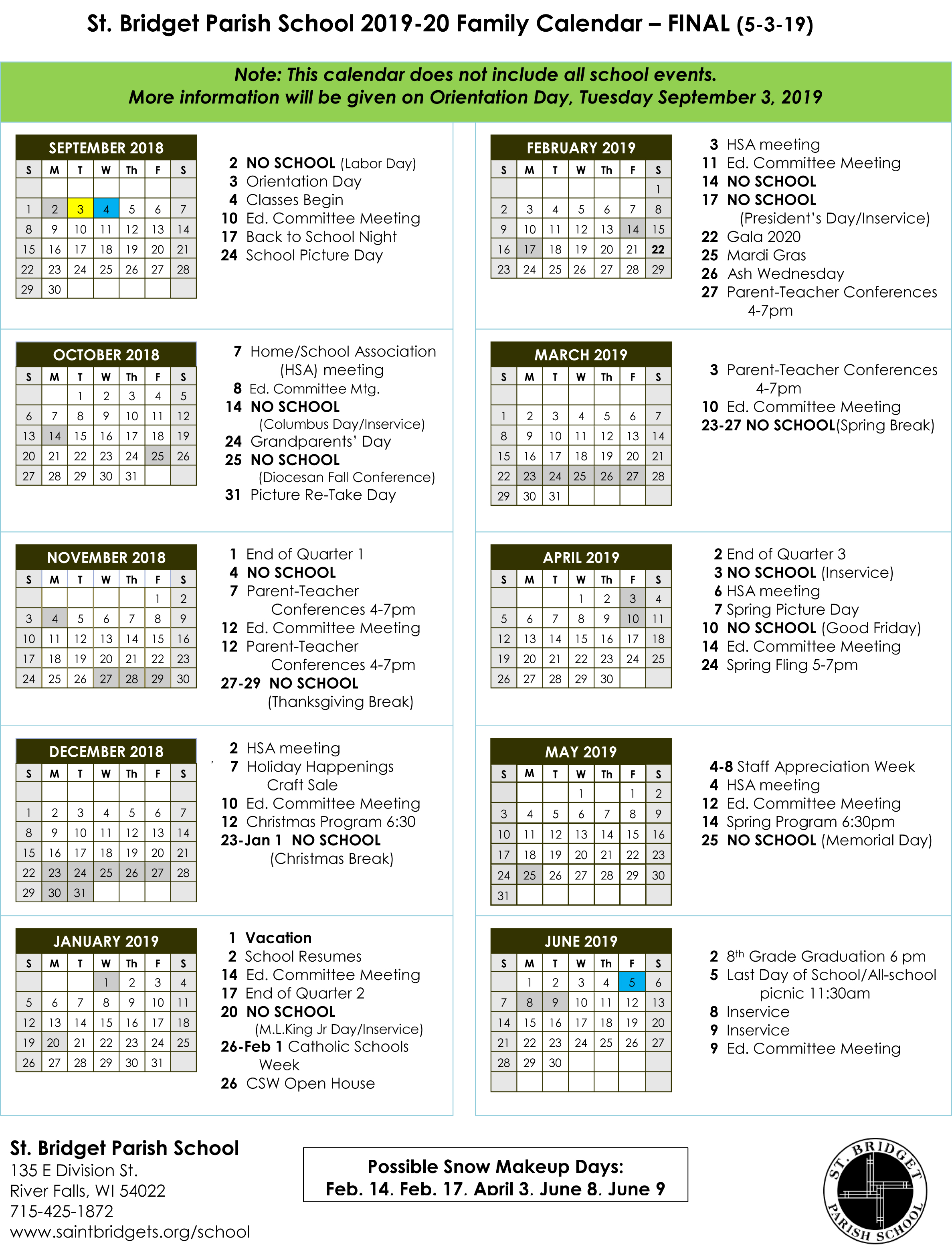 St  Bridget School Calendar - Saint Bridget Catholic Community